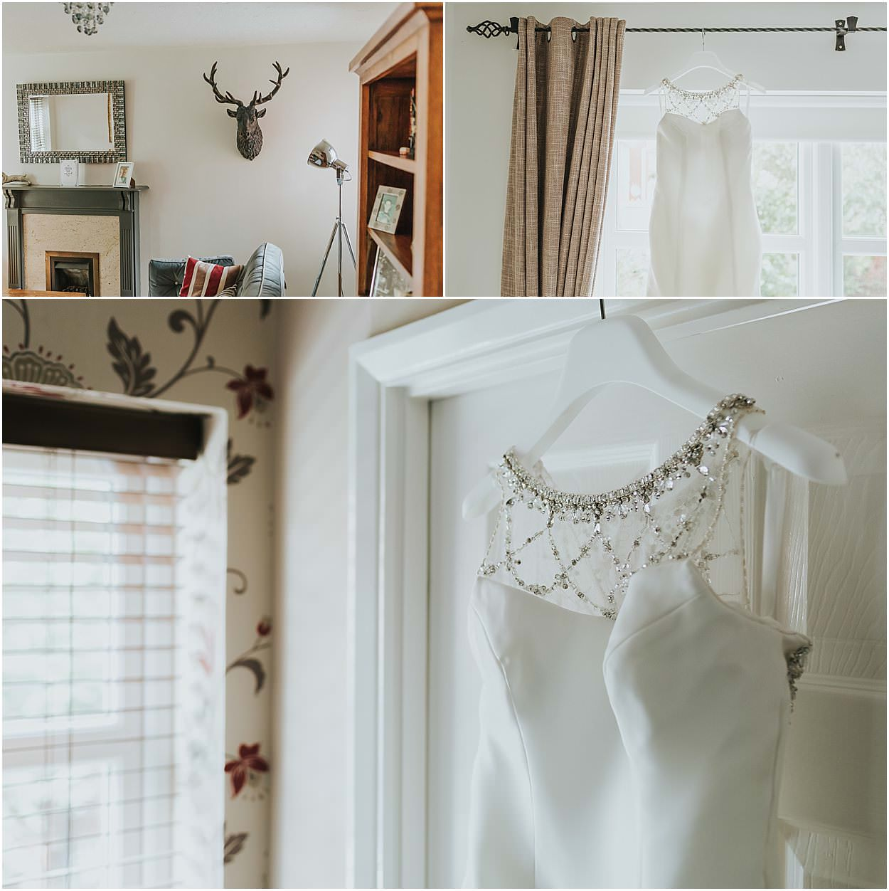 Lincolnshire photography detail shots - top left living room with stag head, top right dress hanging on curtain pole, bottom details of the top of a dress hanging on a door frame