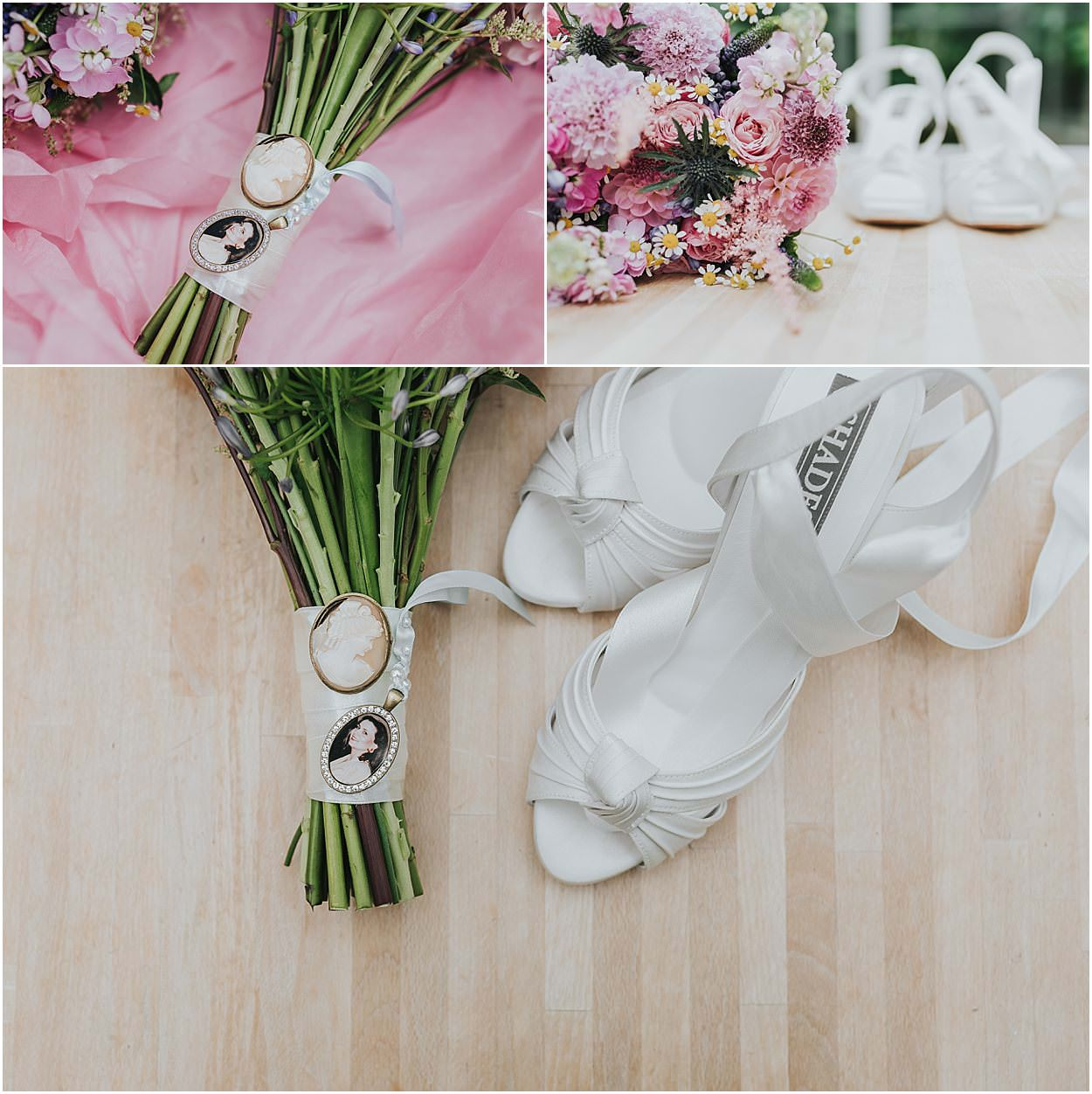 Lincolnshire photography top left portrait of bride's mother on bridal bouquet, top right bridal bouquet with shoes in background, bottom, bridal bouquet and bridal shoes