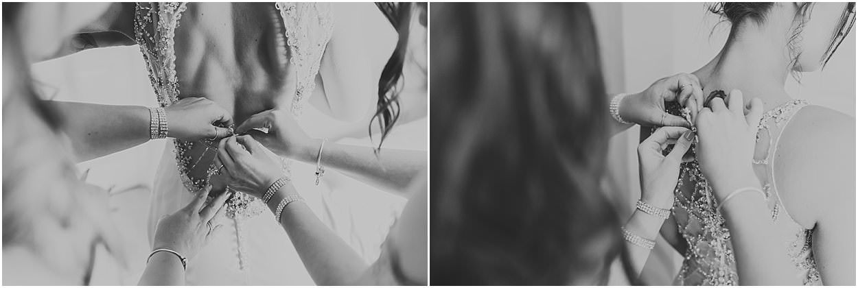 Lincolnshire photography black and white images of detail shots from a bride having her dress done up