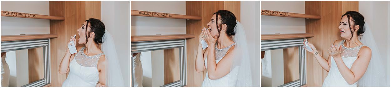 Lincolnshire photography three shots of a bride using her mouth spray