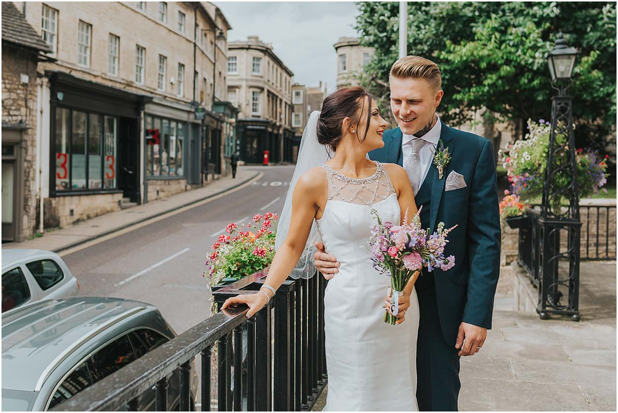 Lincolnshire photography bride and groom outside stamford town hall