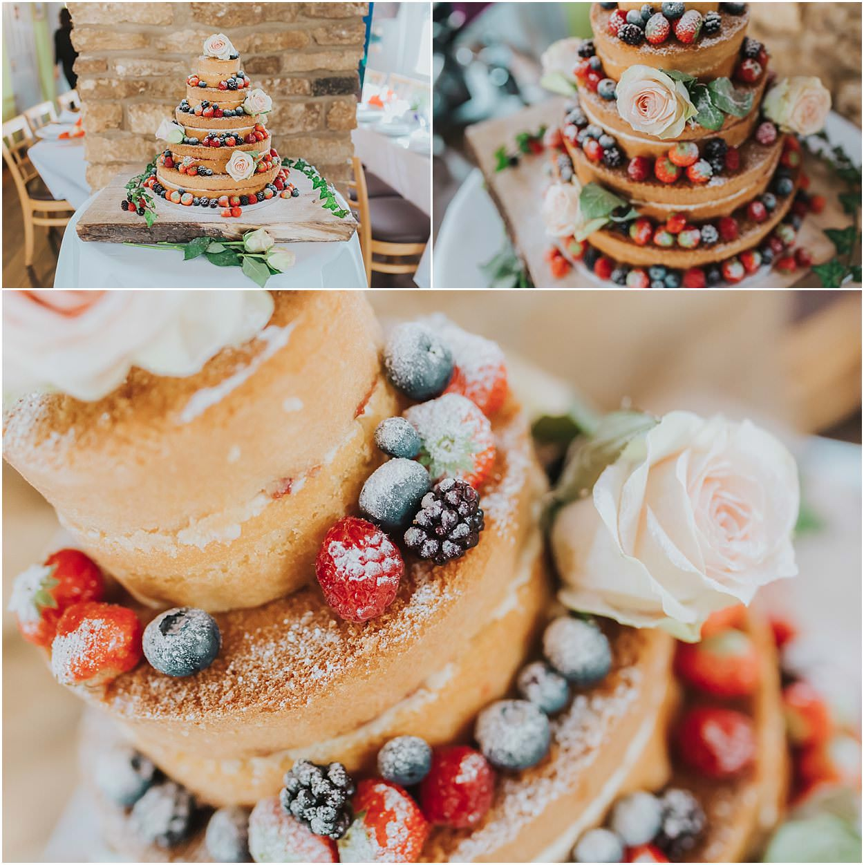 Lincolnshire photography three closeup shots of naked cake at a wedding