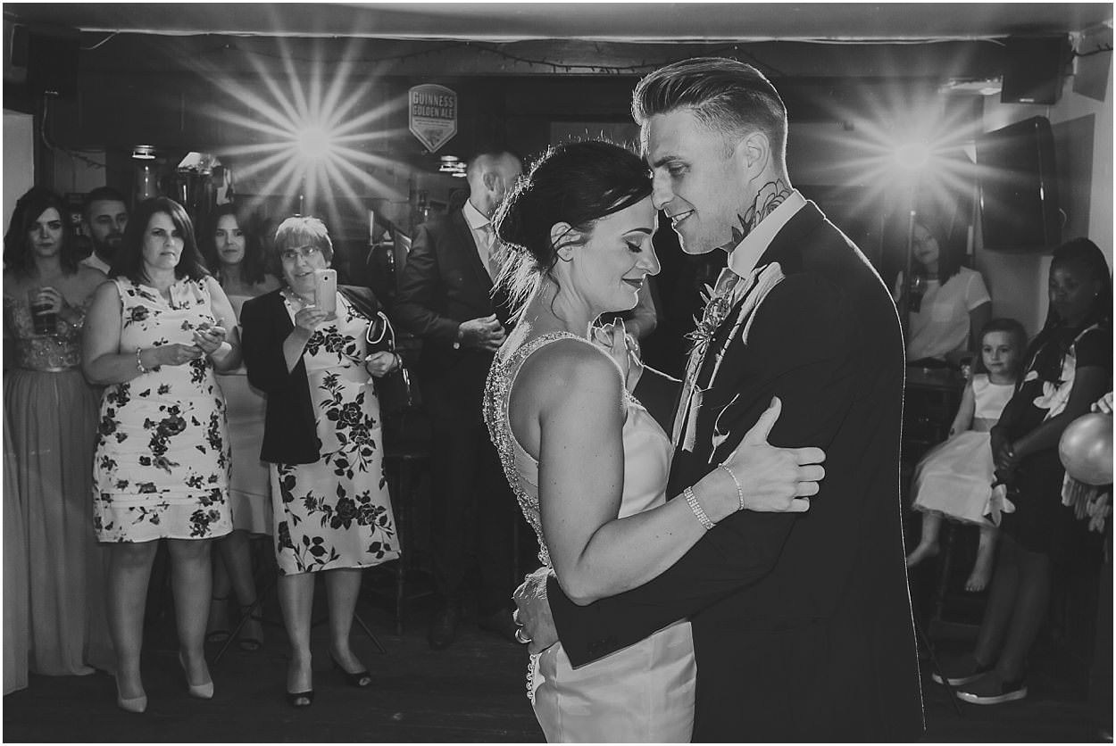 Lincolnshire photography bride and groom first dance in black and white