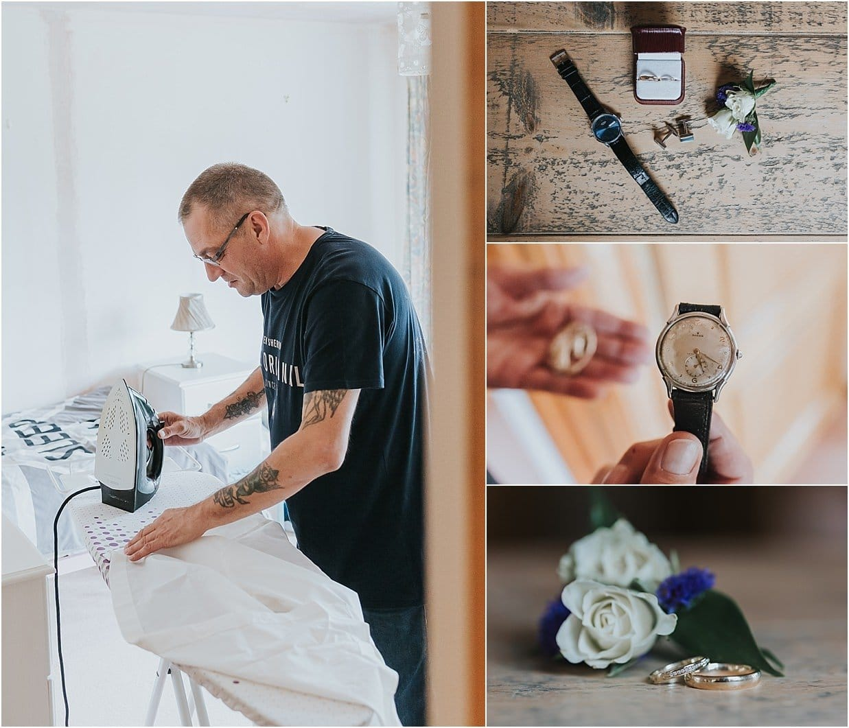 Rutland and Lincolnshire photography groom ironing watch and rings