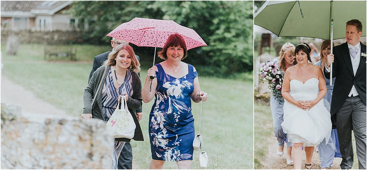 Rutland and Lincolnshire photography bride under an umbrella arriving to the church in the rain