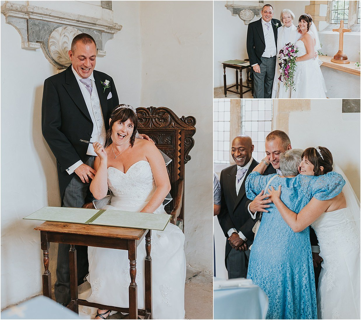 Rutland and Lincolnshire photography left bride and groom signing register bottom right bride's mother hugging bride and groom top right bride and groom with vicar