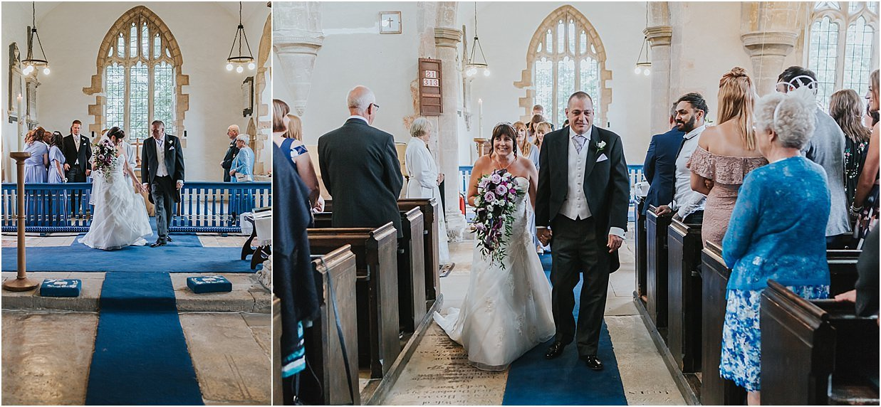 Rutland and Lincolnshire photography bride and groom walking down aisle