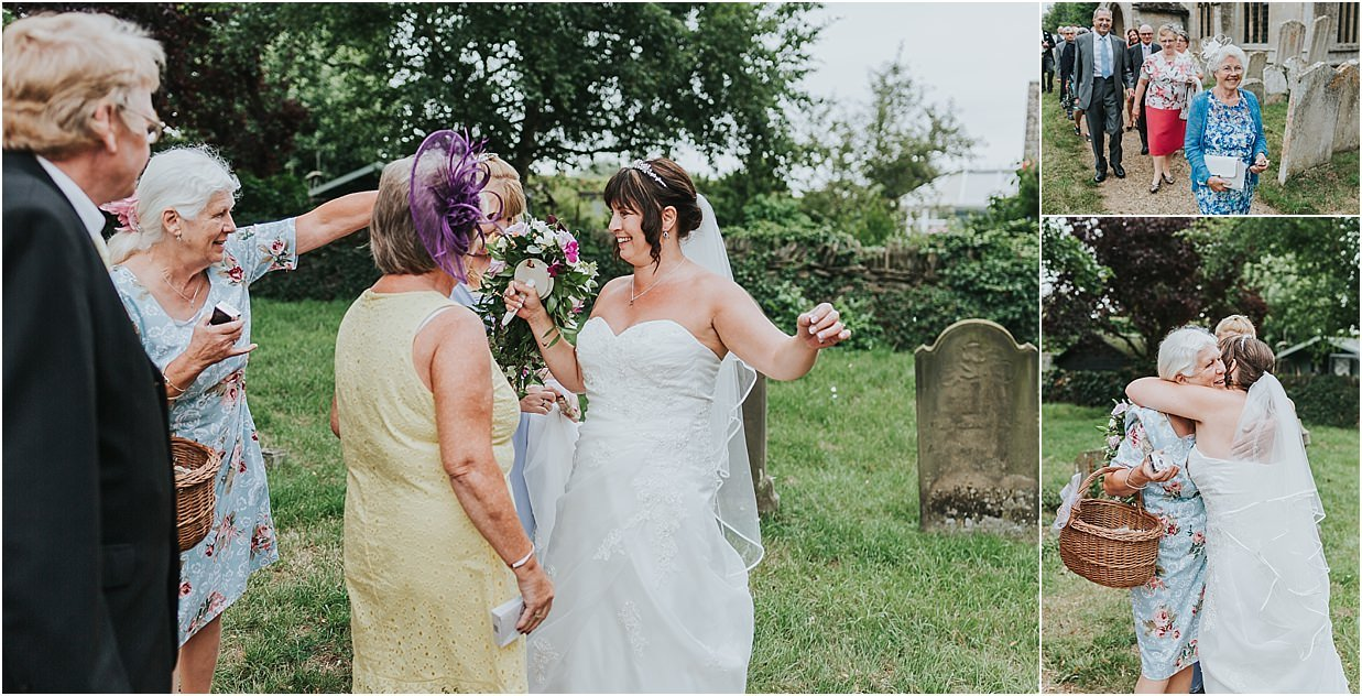 Rutland and Lincolnshire photography greeting line with bride outside church