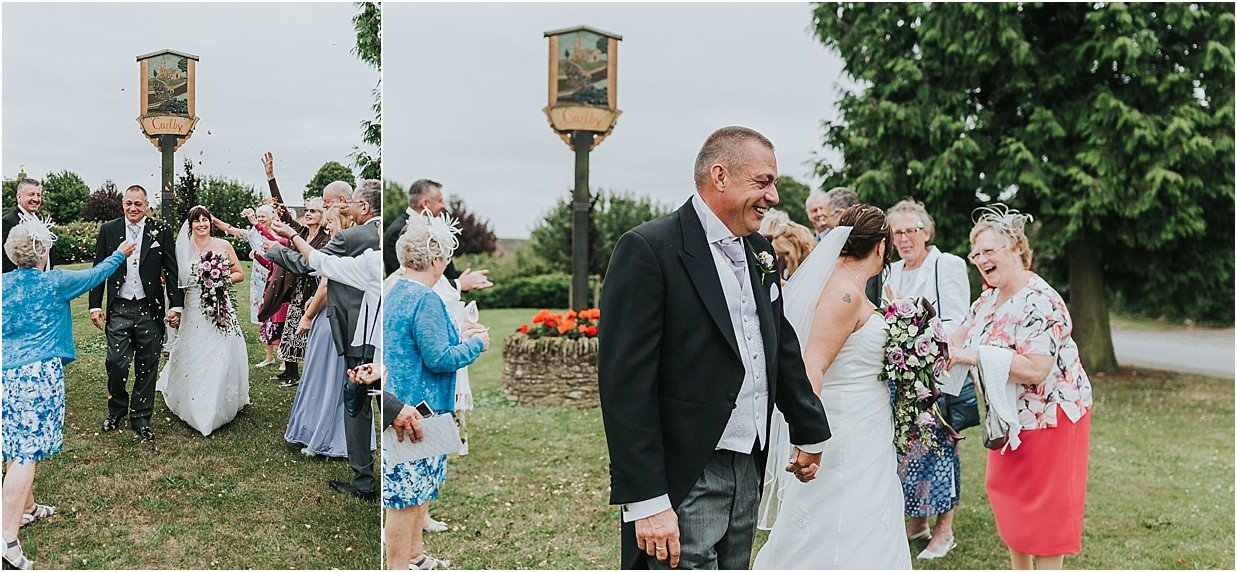 Rutland and Lincolnshire photography confetti shot outside the carlby village sign