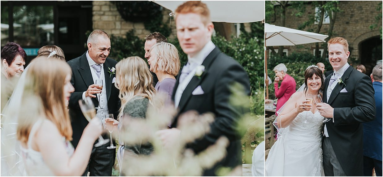 Rutland and Lincolnshire photography bride with son, groom talking to guests at Barnsdale Lodge hotel Oakham