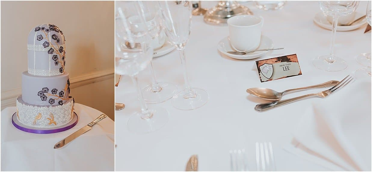 Rutland and Lincolnshire photography wedding cake and place setting