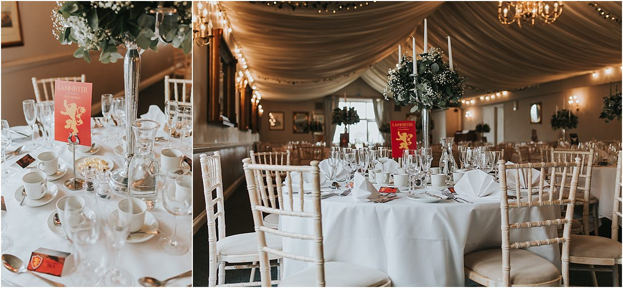 Rutland and Lincolnshire photography Barnsdale lodge table place setting Game of Thrones themed wedding
