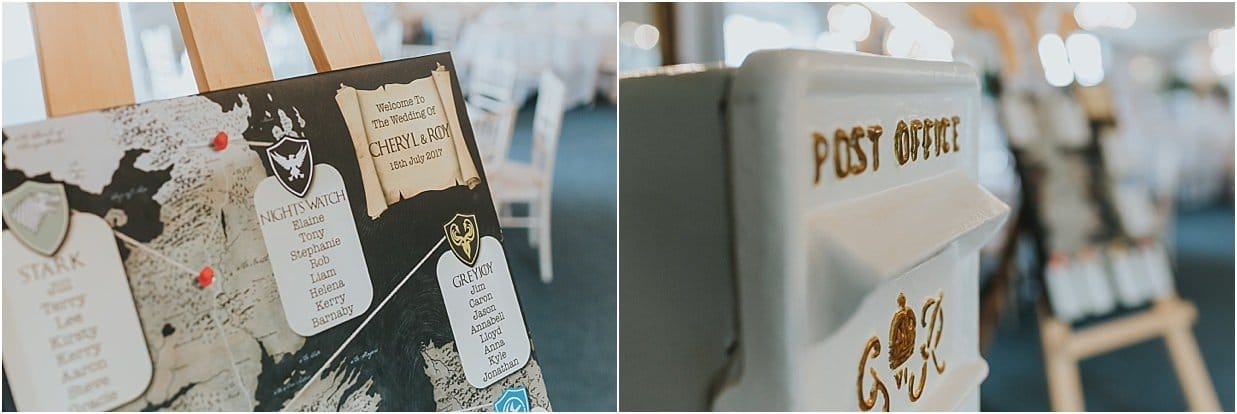 Rutland and Lincolnshire photography wedding table plan and card post box Game of Thrones