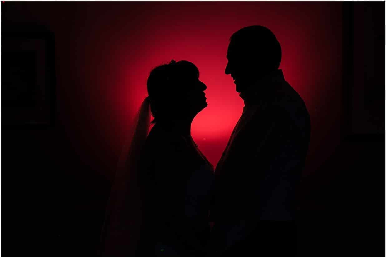 Rutland and Lincolnshire photography bride and groom portrait silhouette at Barnsdale Lodge hotel