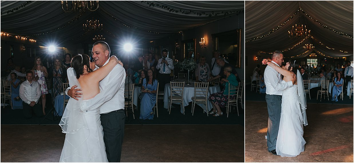 Rutland and Lincolnshire photography bride and groom during their first dance at Barnsdale lodge hotel