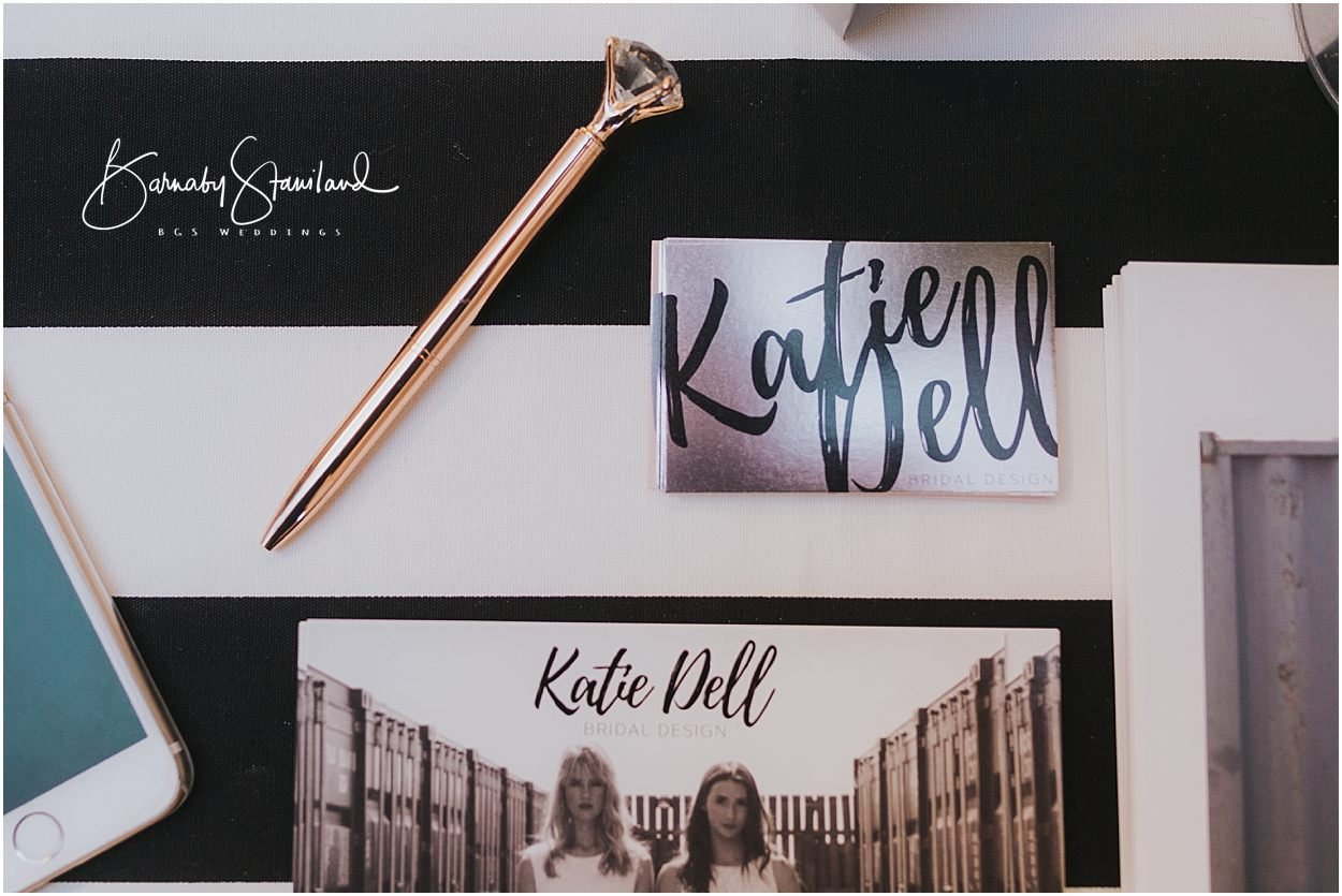 Rutland Wedding Photography Business card and pen for Katie Dell bridal design