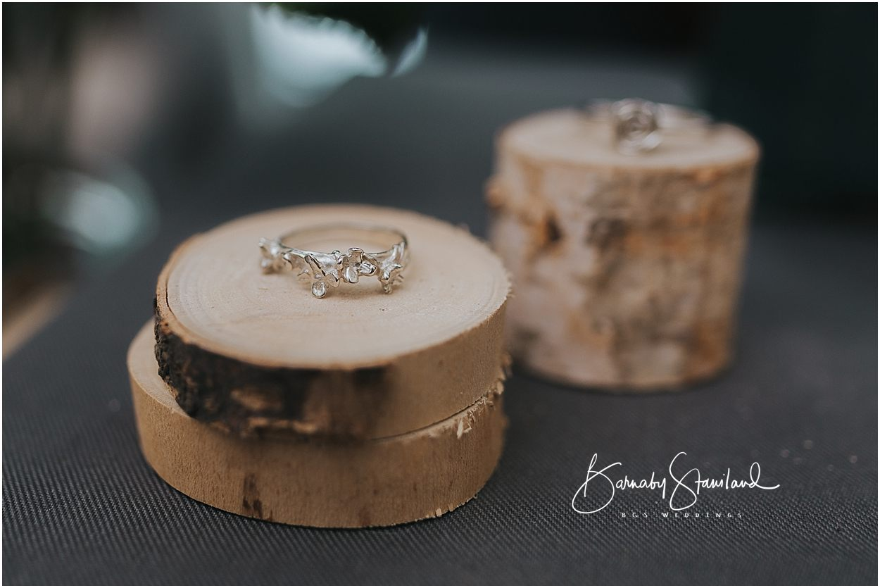 Rutland Wedding Photography Handmade ring on a wooden plinth