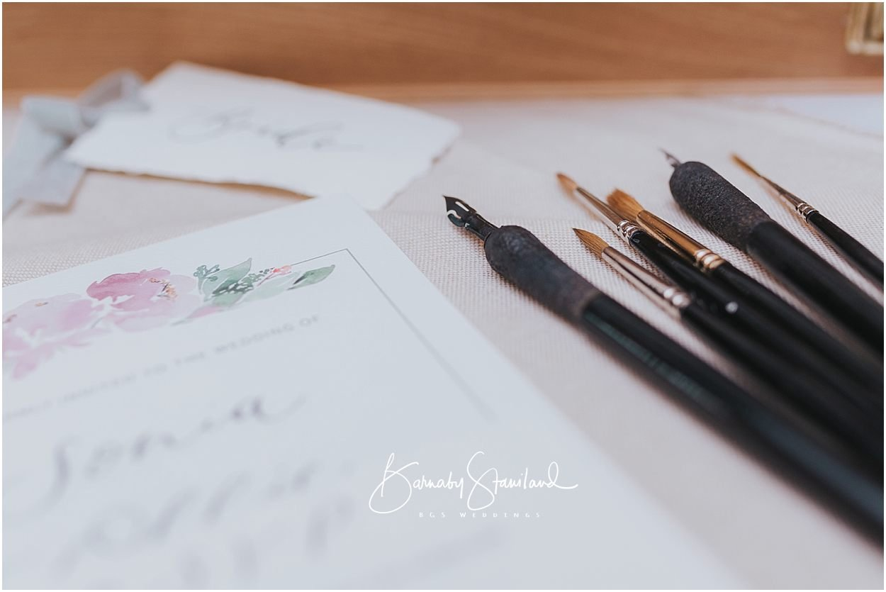 Rutland Wedding Photography tools used for lettering and wedding stationery