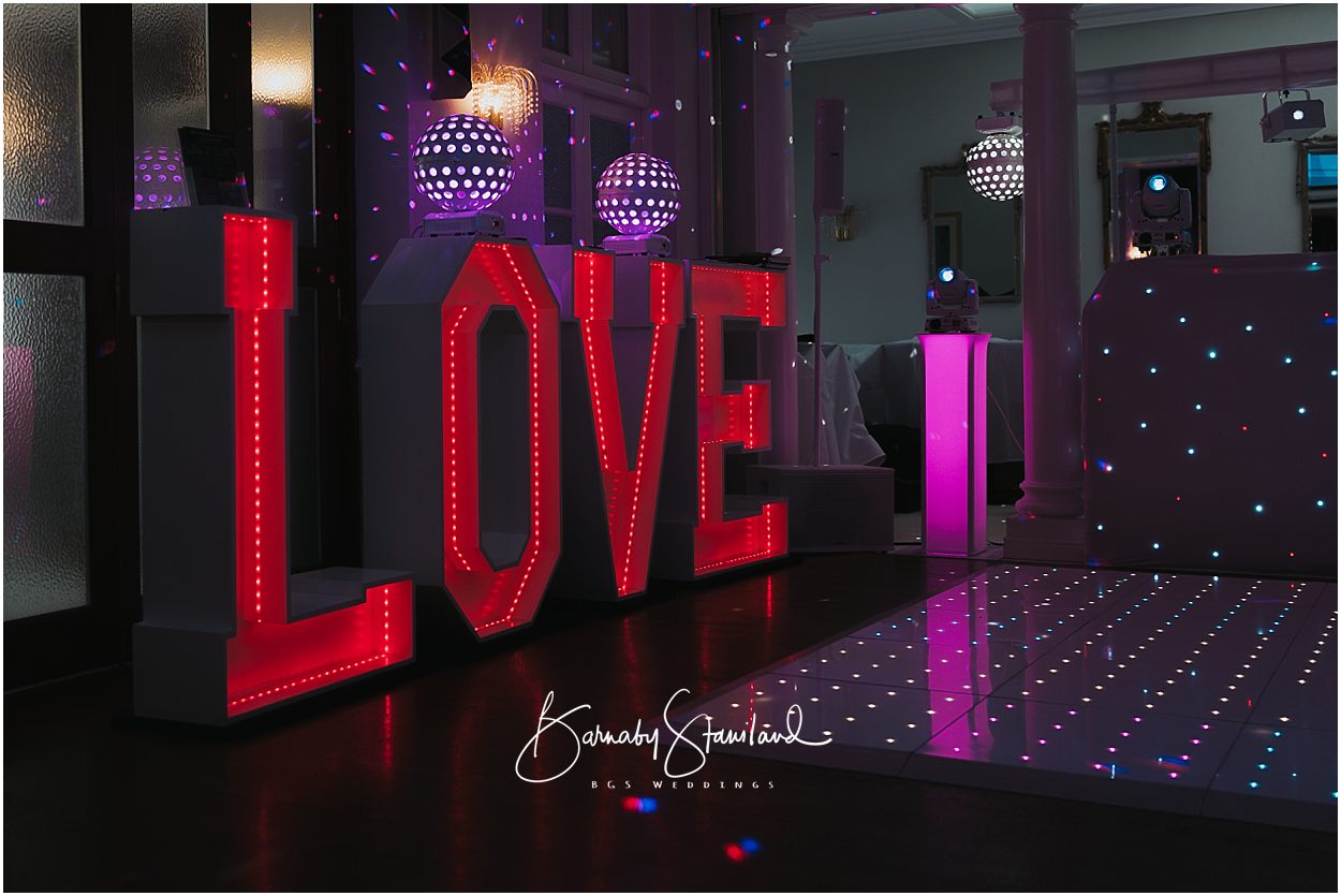 Rutland Wedding Photography light up LOVE letters
