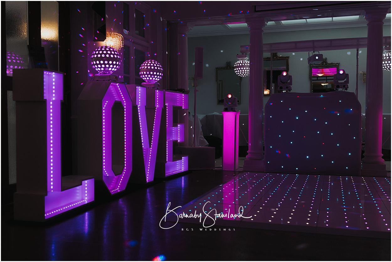 Rutland Wedding Photography light up love letters and LED dance floor