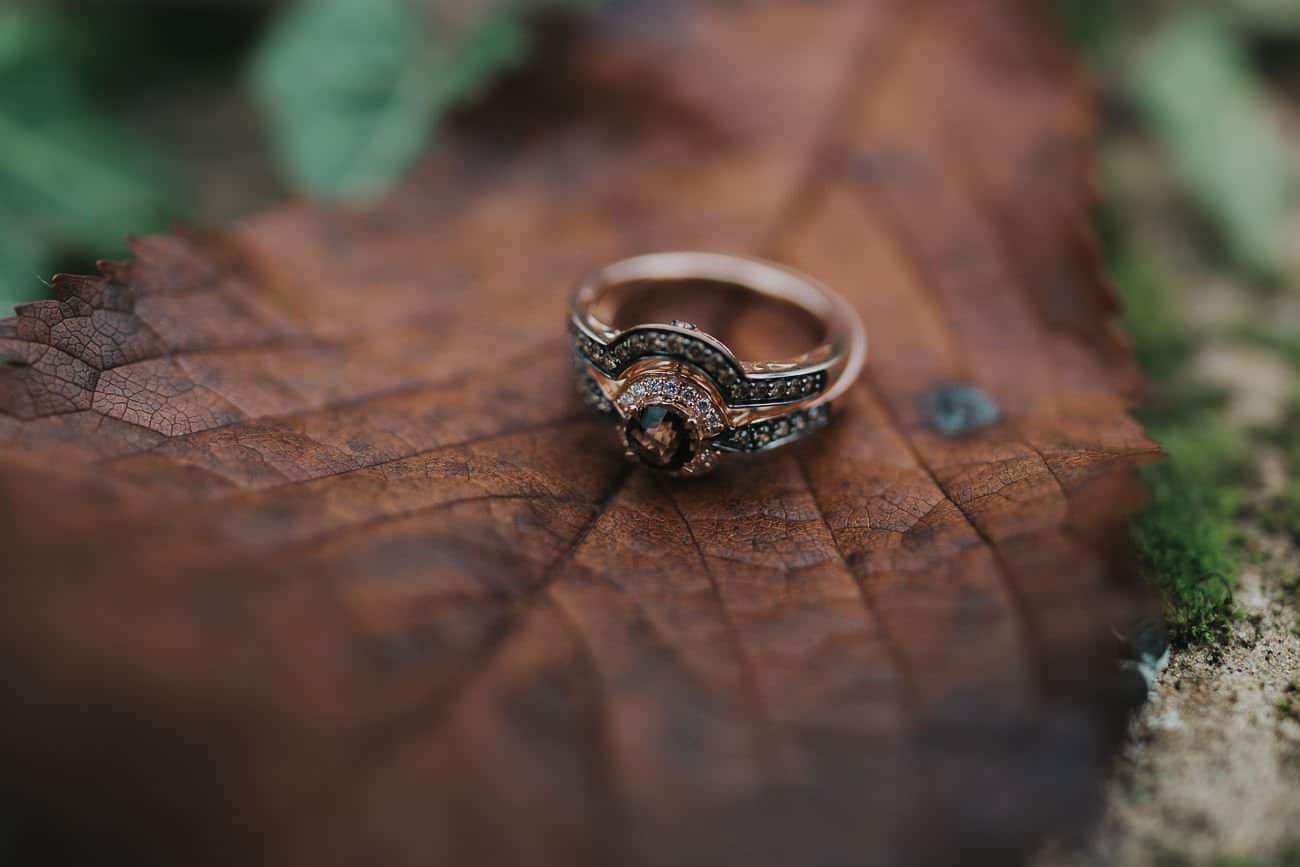 Engagement and wedding rings on a leaf