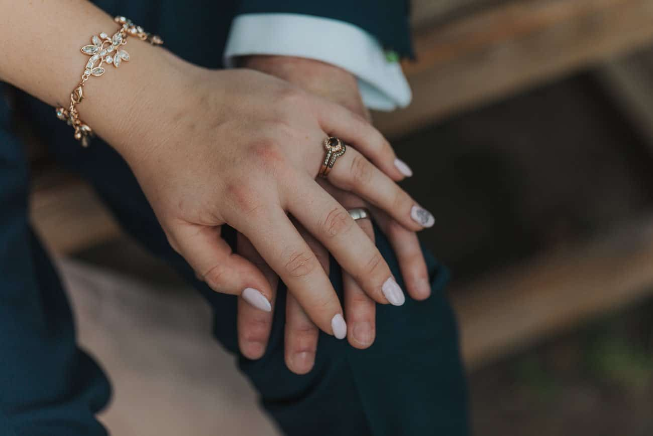 Closeup of bride and groom's hand with fingers