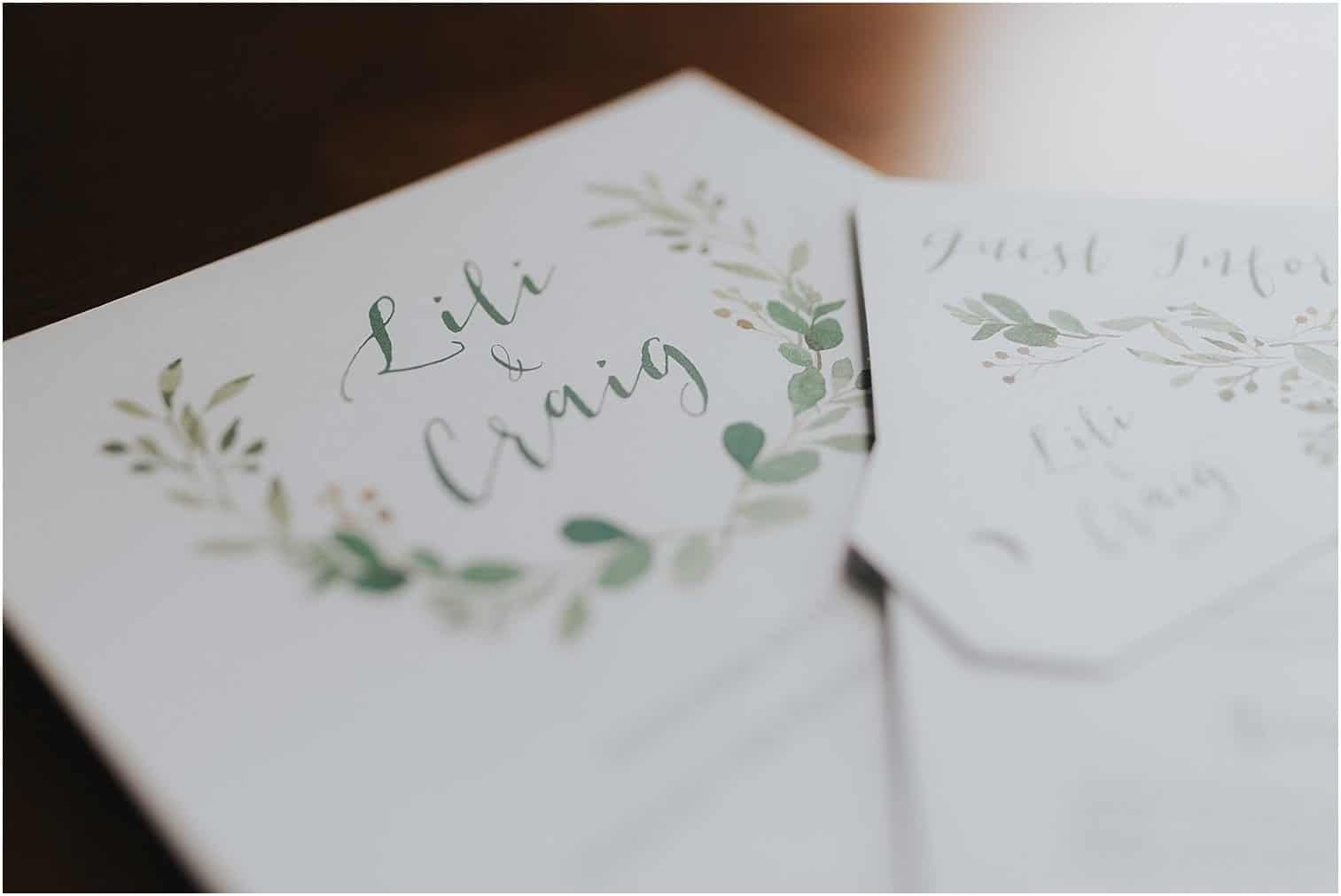Wedding invites which say Lili & Craig