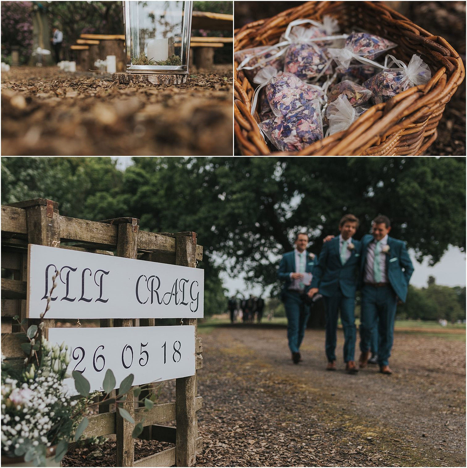 Details of an Escrick Park Wedding including signs and confetti