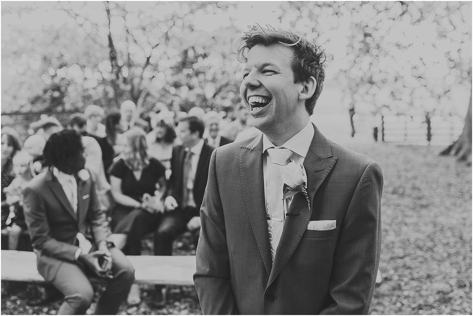 Groom laughing nervously before his marriage
