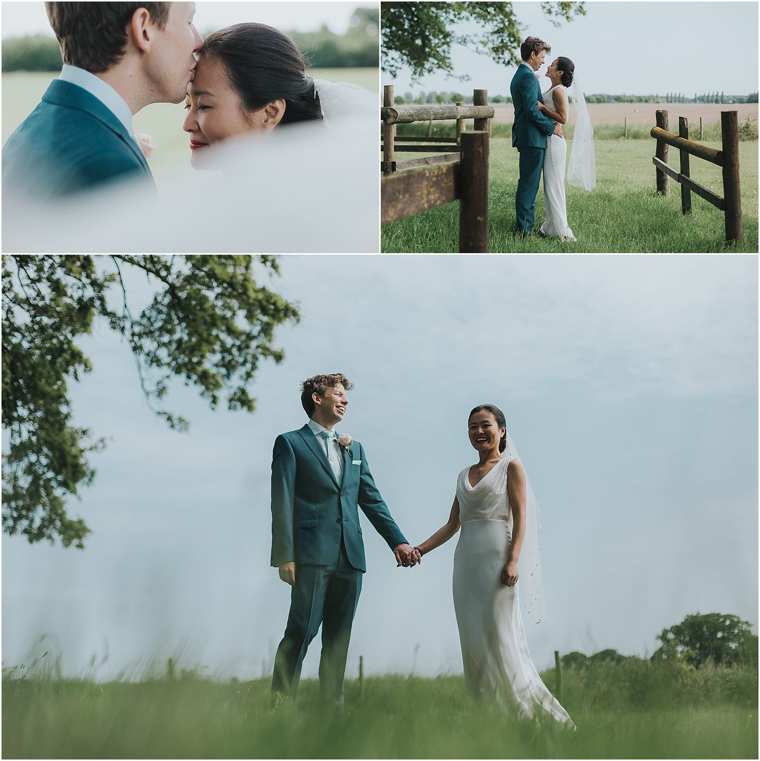 Three images of a bride and groom during couple portraits on a wedding day at Escrick Park