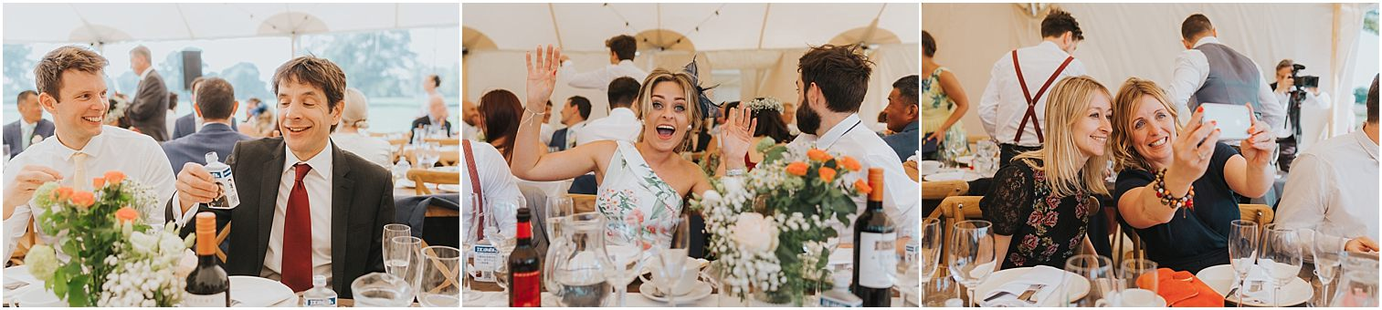 Three images of guests enjoying themselves at a wedding