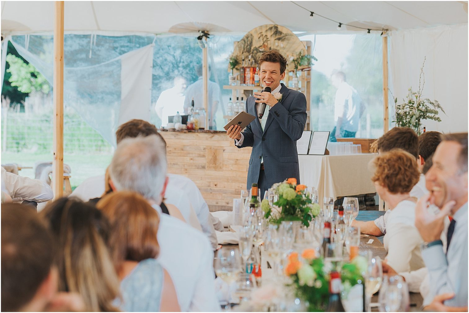 Groom giving a speech at his wedding
