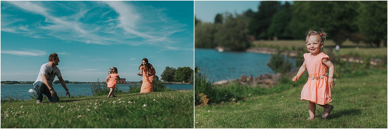 Two images from a family photography session at Rutland Water