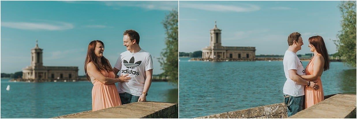 Two shots of an engagement session at Normanton Church