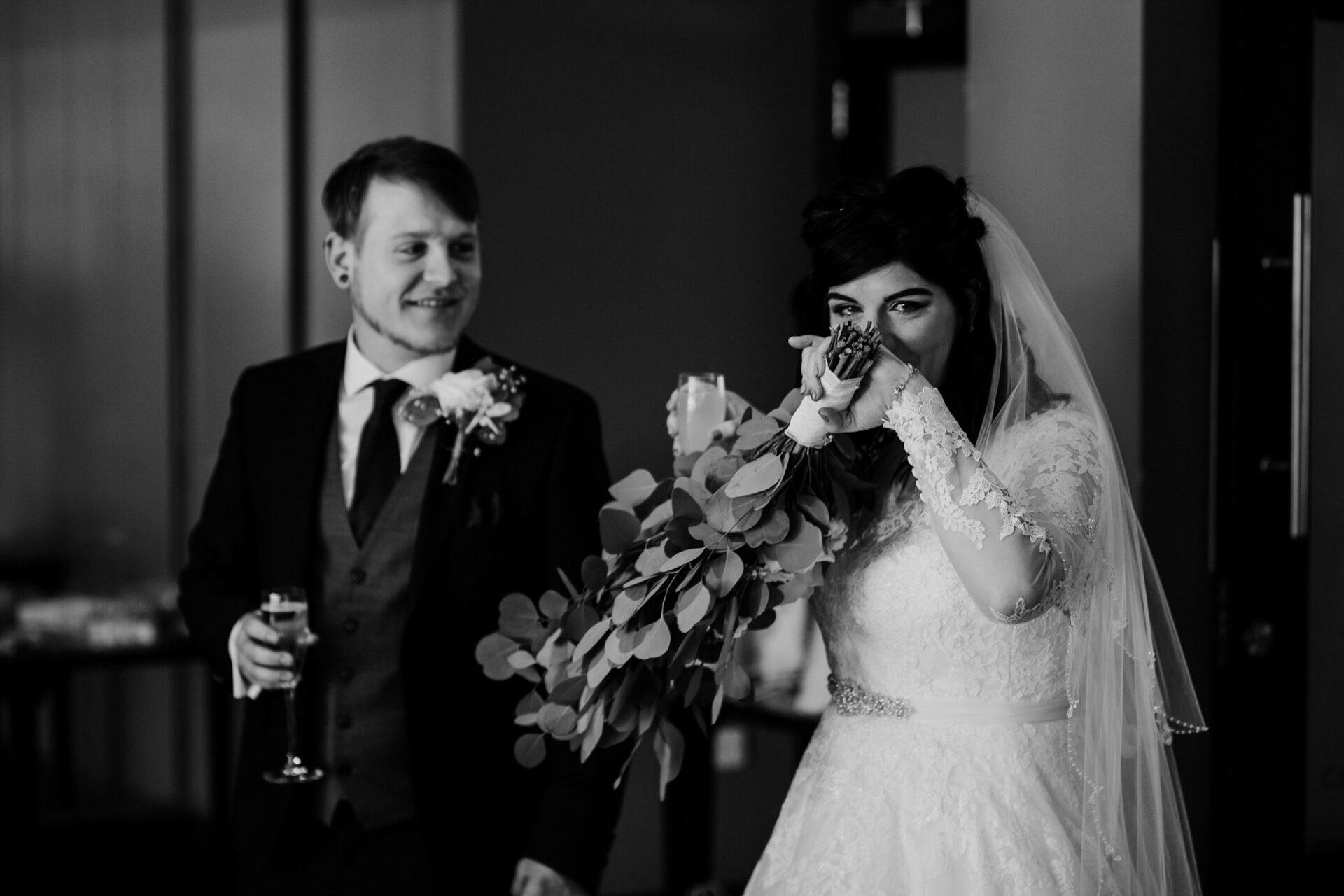 emotional bride after ceremony rutland wedding photography