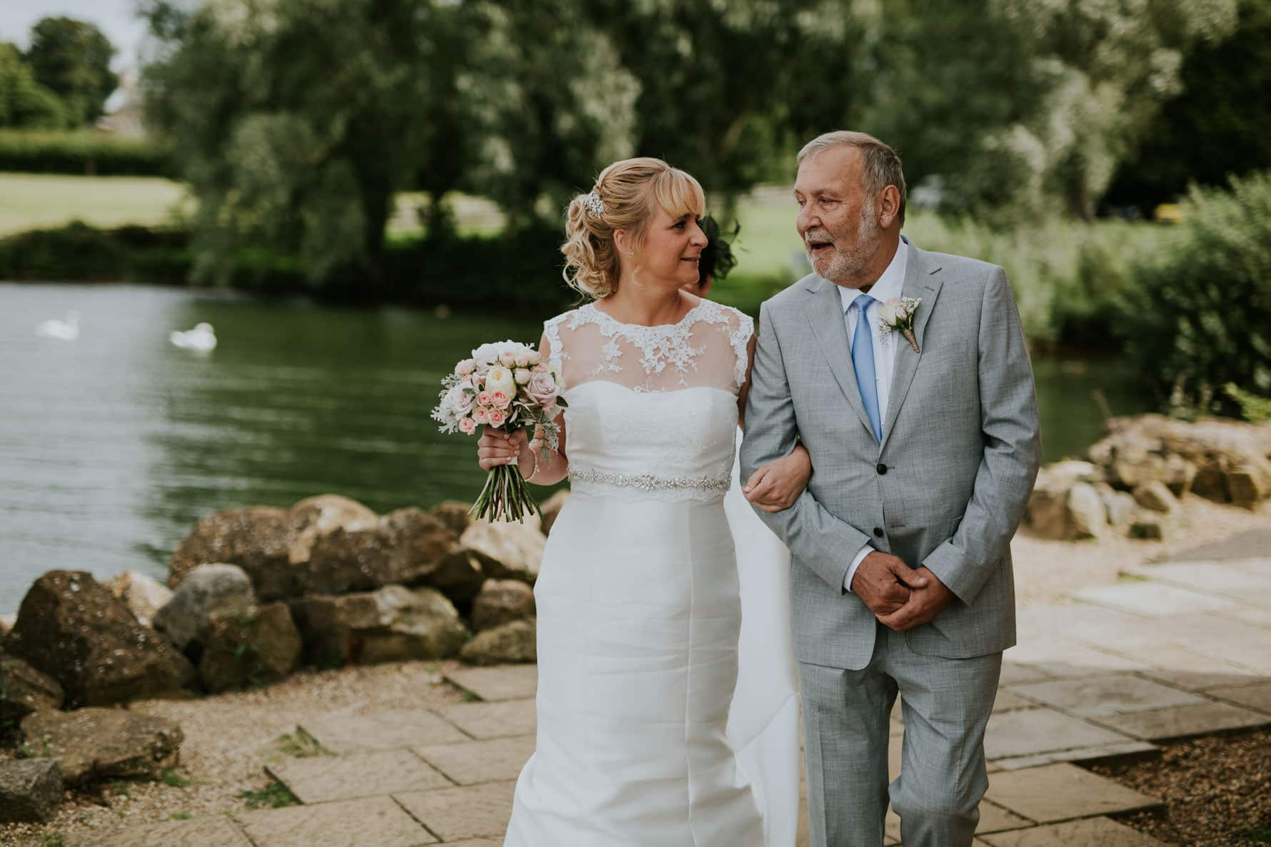 bride and her dad before her barnsdale lodge wedding