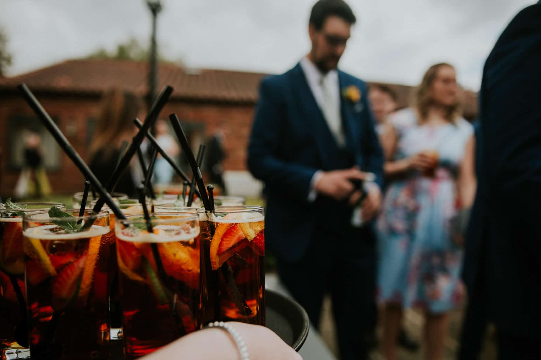 A tray of Pimms at a wedding reception