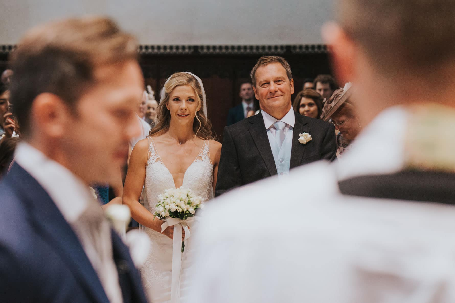Bride and her father walking down the aisle - Cambridge wedding photographer