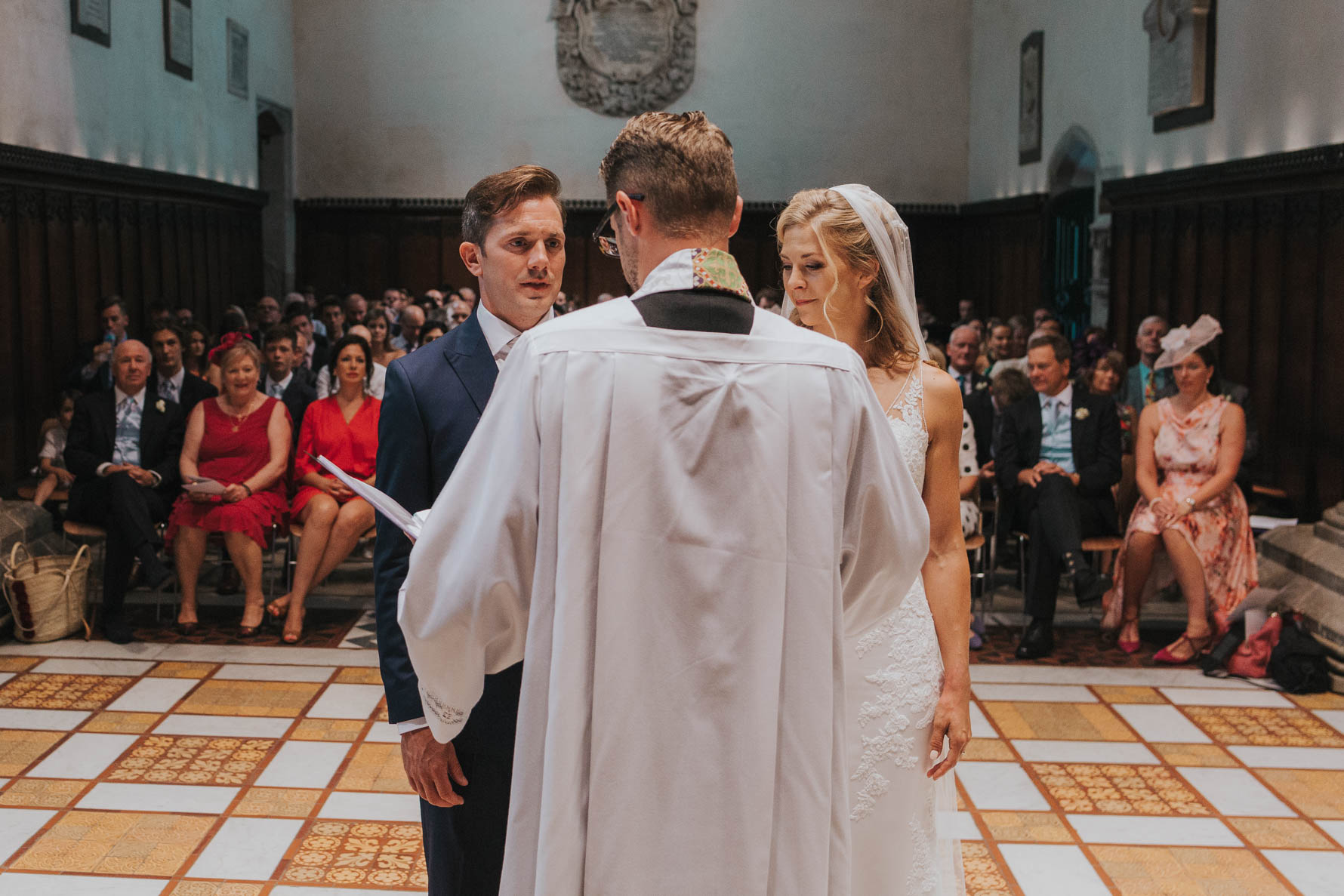 Bride and groom stood during their ceremony at the chapel