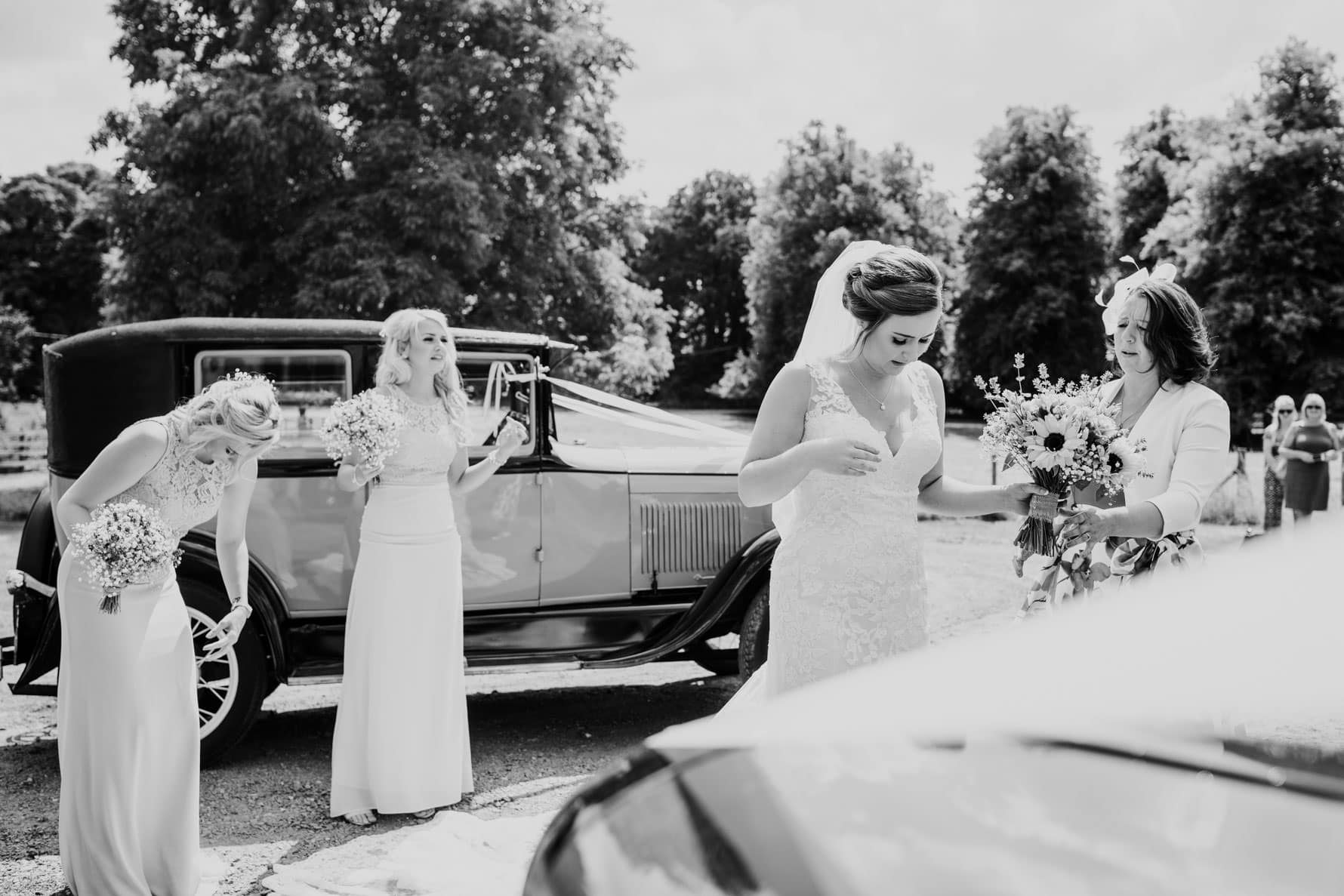 Bride and bridesmaids just before a wedding ceremony