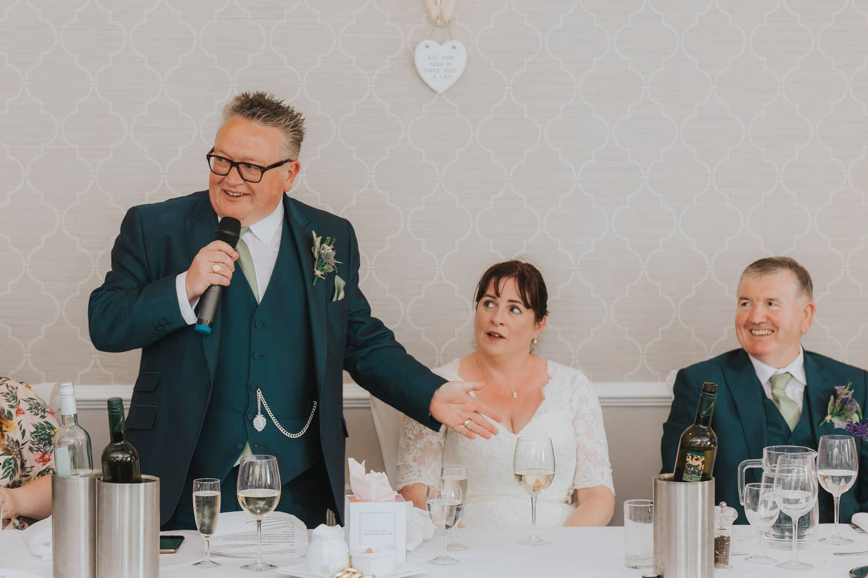 Groom giving his wedding speech at the normanton park hotel