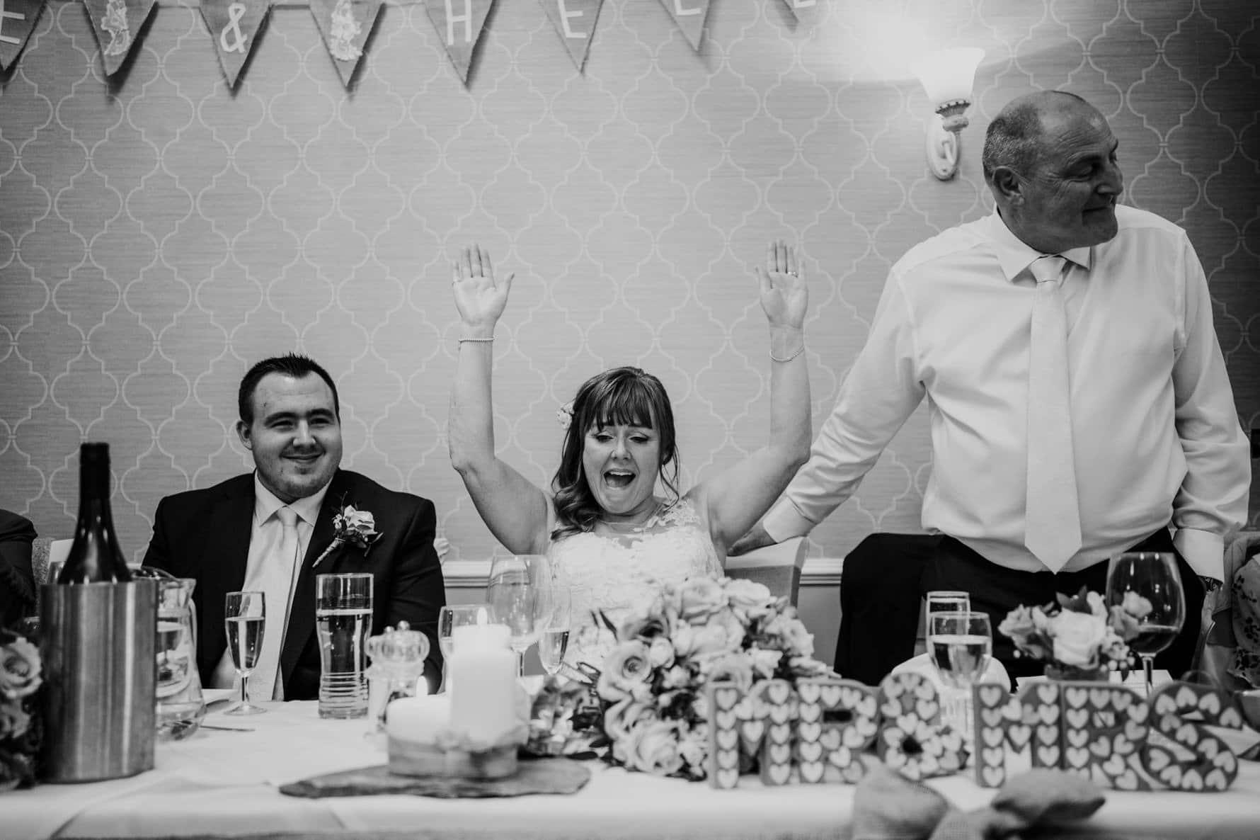 bride reacting to the grooms wedding speech