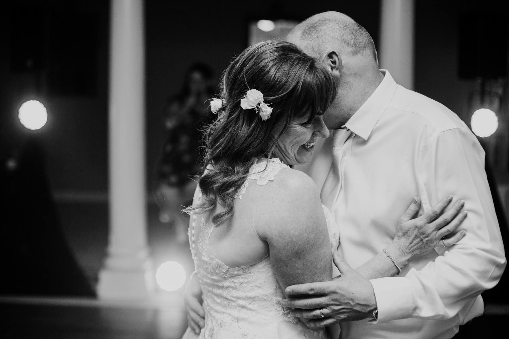 bride and groom during their first dance at normanton park hotel